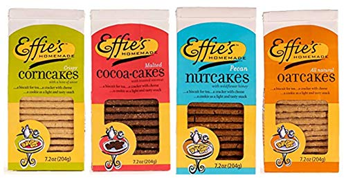 Effie's Homemade All-Natural Lightly Sweetened Gourmet Biscuits 4-Flavor Variety Pack: Oatcakes, Nutcakes, Cocoacakes, Corncakes. For Real Food Lovers Craving Homemade Taste by Effie's Homemade
