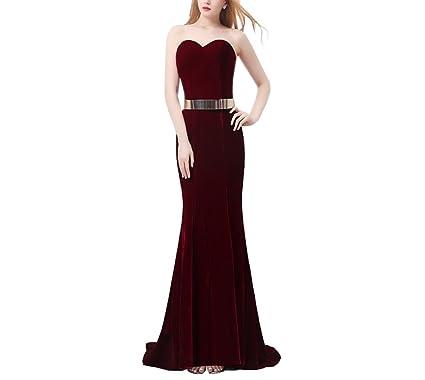 Lava-ring Womens Burgundy Velvet Sheath Sweetheart Strapless Long Evening Dress