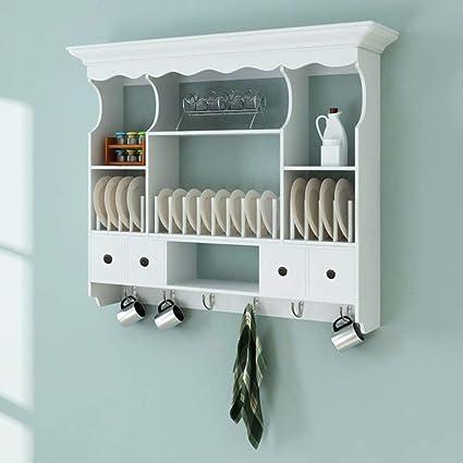 amazon com rungfa wall dish rack white wooden kitchen display rh amazon com wall dish rack cabinet hanging plate rack cabinet