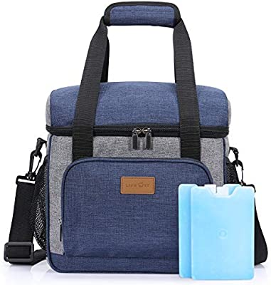 Blue 24 Can Lifewit Insualted Lunch Cooler Bag with 2 Ice Packs