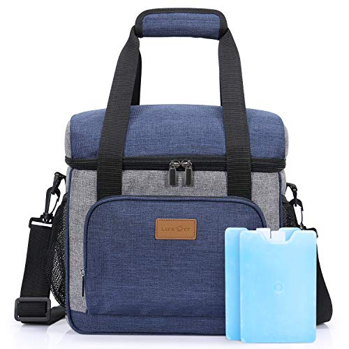 Lifewit Insulated Cooler Bag 24-Can Large with 2 Ice Packs, Insulated Lunch Bag, Soft-Sided Cooling Bag for Outdoor Travel Hiking Beach Picnic BBQ Party, -