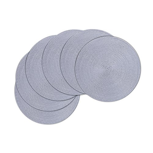 Round Placemats Furnily Round Braided & Woven, Indoor/Outdoor Placemat,15 Inches Round Table Mats,Set of 6 (Grey) by Furnily (Image #2)'