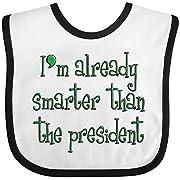 Inktastic - Smarter Than The President Baby Bib White/Black