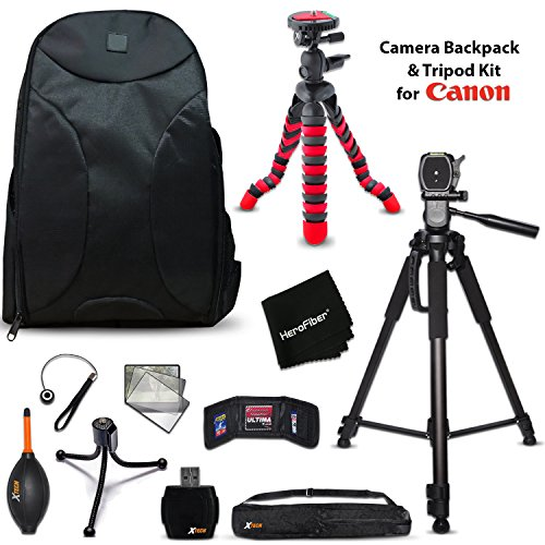 Well Padded Camera Backpack + 60 inch Tripod + 12 inch Flexible Tripod + Kit for Canon EOS 80D, 70D, 60D, 7D, 7D Mark II,EOS Rebel T6, T6i, T6S, T5i, T5, T4i, T3i, EOS 1300D, 1200D, 1100D, 760D, 750D by HeroFiber