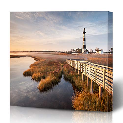 Ahawoso Canvas Prints Wall Art 16x16 Inches Coast North Carolina Outer Banks Bodie Island Nature Parks Lighthouse Hatteras Cape House Wooden Frame Printing Home Living Room Office Bedroom