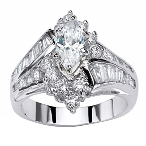 Kstare Women's Diamond Engagement Wedding Ring Jewelry Gift (8, Silver) (Engagement Bands Antique)