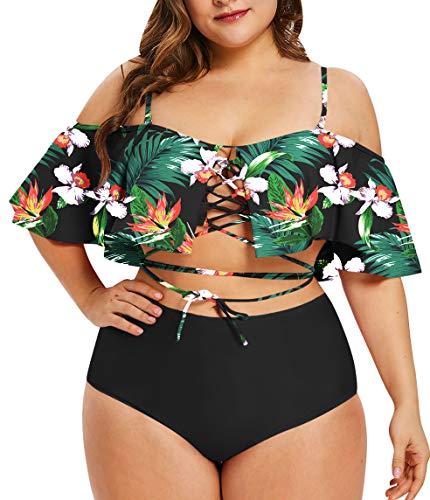 Sovoyontee Women's Plus Size Swimwear Two Piece High Waist Swimsuit Multi-Colored Flower Leaf Print 4XL