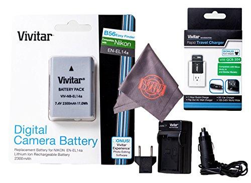 Vivitar EN-EL14 / EN-EL14a Ultra High Capacity 2300mAh Li-ion Battery + AC/DC Vivitar Rapid Travel Charger + Microfiber Lens Cleaning Cloth EL14 ENEL14 (Nikon EN-EL14 Replacement) by Vivitar