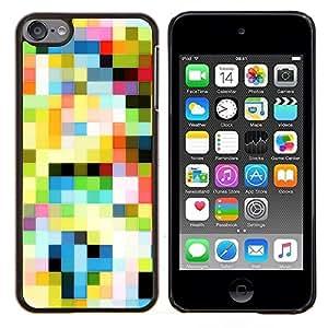 Planetar® ( Motif Old TV Colorful carrés de papier peint ) iPod Touch 6 Fundas Cover Cubre Hard Case Cover
