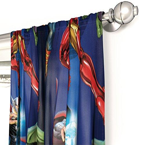 Marvel Avengers Blue Circle Microfiber Curtain Panel Pair with Tiebacks Set