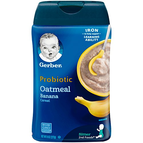 Gerber Baby Cereal Probiotic Oatmeal & Banana Baby Cereal 8 OZ, 227g (Pack of 6)