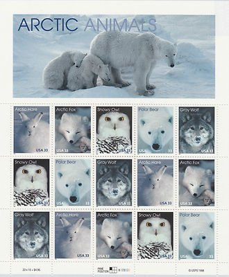 Animal Postage Stamps - Arctic Animals: Arctic Hare, Arctic Fox, Snowy Owl, Polar Bear, and Gray Wolf, Full Sheet of 15 x 33-Cent Postage Stamps, USA 1999, Scott 3288-92