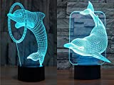 Pack of 2 Dolphin 3D Illusion Nightlight Lamp,7 Colors Changing Lighting Table Desk Lamp for Home Decor - BEST Gift for Kids/Friends/Birthdays/Holidays