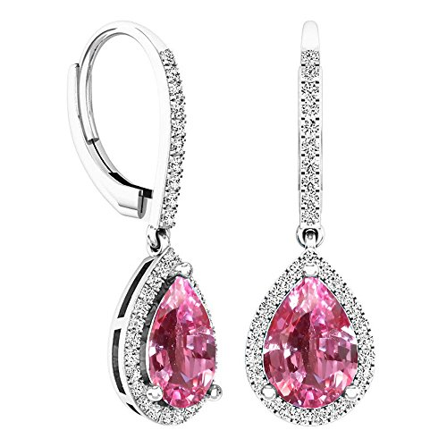 Dazzlingrock Collection 10X7 MM Each Pear Lab Created Pink Sapphire & Round Diamond Ladies Dangling Earrings, Sterling Silver (Lab Created Pink Sapphire Ring Sterling Silver)