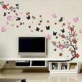 Walplus WS9034 - Pacchetto adesivi da parete, motivo: fiori + farfalle rosa e nere in 3D, colori misti