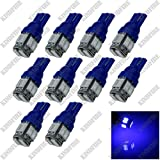 Kindfire 10Pcs 10-SMD 5630 LED T10 W5W Wedge Side Light Bulb Lamp A058(7 Color) (Blue)