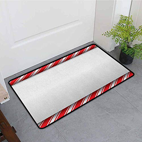 ONECUTE Bedroom Doormat,Candy Cane Horizontal Borders Frame with Red and White Sweetie Pattern in Abstract Style,Rustic Home Decor,24