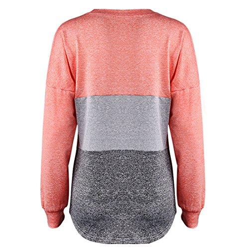 Rond Multicolore Manches Femmes Tops Chemisiers Lache Irregulier Shirt Blouse Col Epissure Longues T Rouge Haut gqAxtFE