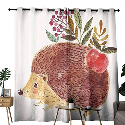 duommhome Animal Bathroom Curtain Cute Hand Painted Illustration with Adorable Hedgehog with Flowers in Watercolors Provide You with a Good Indoor Environment W72 xL72 Multicolor