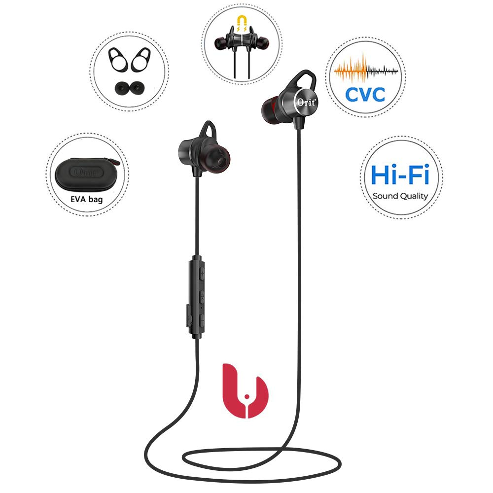 Bluetooth Headphones Sport, Wireless Earbuds with Mic Sweatproof Super Bass and Noise Cancelling Magnetic Earphones with Removable Ear Hook Cancellation for Cell Phones Workout Running 9H Playtime