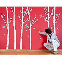 6 Birch Tree Wall Decals Nursery with Birds Big Tree Wall Stickers for Living Room