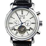 GuTe Dress Gentlemen Decor Tourbillon Automatic Mechanical Wrist Watch White Dial Full calendar