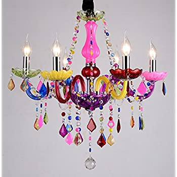 The Original Gypsy Color 6 Light Large Gypsy Chandelier H26 Quot W22 Quot Red Metal Frame With Multi