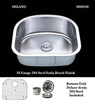 Milano SSM100 D Shape Stainless Steel Single Bowl Undermount ...