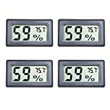 Veanic 4-Pack Mini Digital Electronic Temperature Humidity Meters Gauge Indoor Thermometer Hygrometer LCD