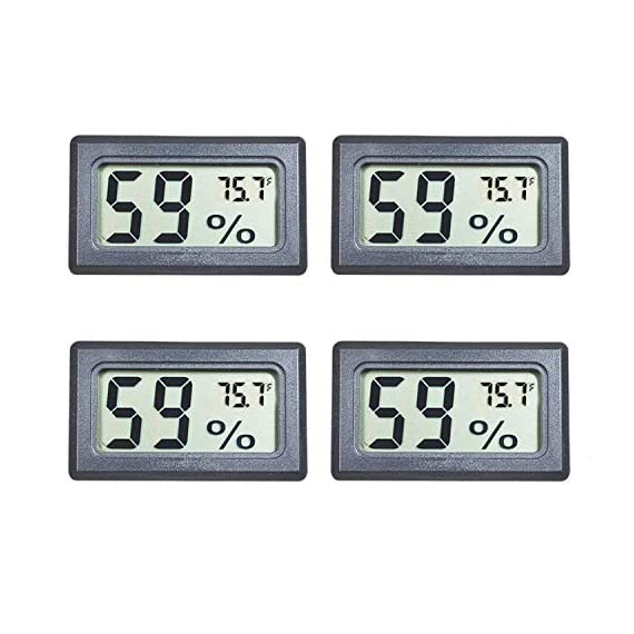 Veanic 4-pack mini digital electronic temperature humidity meters gauge indoor thermometer hygrometer lcd display fahrenheit (℉) for humidors, greenhouse, garden, cellar, fridge, closet 1 mini digital humidity thermometer allows you to easily know the temperature and humidity around you 2in1 meter with built-in probe; digital electronic thermometer and hygrometer for measuring temperature and humidity for indoor use fahrenheit (°f) display, this thermometer displays temperature in fahrenheit