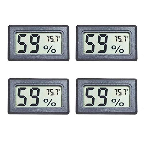 Veanic 4-Pack Mini Digital Electronic Temperature Humidity Meters Gauge Indoor Thermometer Hygrometer LCD Display Fahrenheit (℉) for Humidors, Greenhouse, Garden, Cellar, Fridge, Closet ()