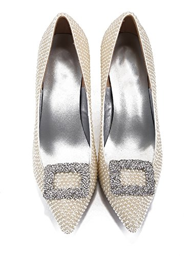 Evening Patent Side Pointed Party Stiletto Beaded TDA Sexy White Women's Dress Leather Toe Shoes Buckle CwYZx8qx