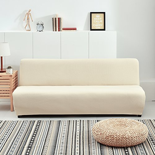 (HM&DX Stretch Armless Sofa Bed Cover,Polyester and Spandex Waffle Weave Knitted Solid Color Futon slipcover Sofa Cover-Beige 63-75in)