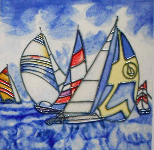 Sailboats Ceramic Art Tile 8 X 8 INCHES with Easel Back