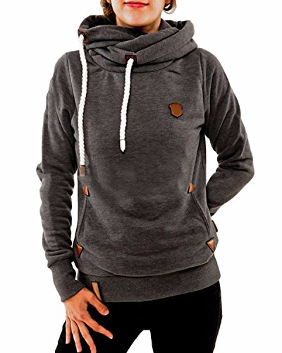 ZANZEA Ladies Autumn Hoodie Sweatshirts Long Sleeve Pockets Slim Tops Blouse DarkGray 8