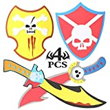 rainbow yuango Skull Designs 4PCS 15'' Assorted EVA Foam Swords and Shields Playset Warrior Weapons Toy Pretend Play Set for Kids Yellow and Red Pirate Viking