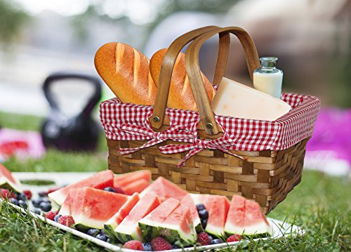 Picnic basket. Vintiquewise(TM Rectangular Basket Lined with Gingham Lining, Small