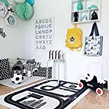 Cheap Nordic Style Fashion Canvas Forest Track Runway Play Game Mats Baby Kids Crawling Blankets Floor Carpet Children Room Decoration Black and White (125x75cm City Road, 90x140cm)