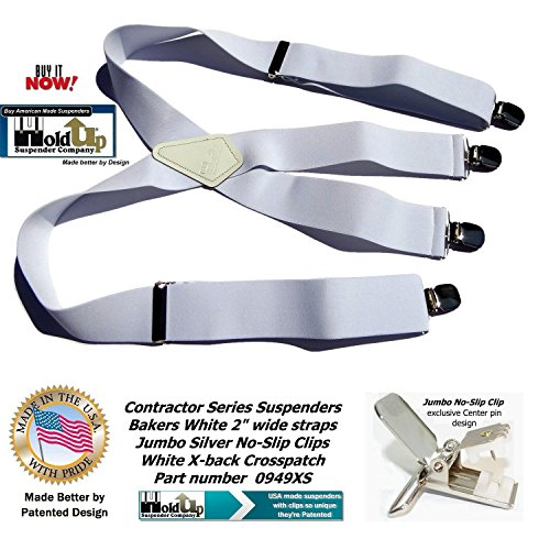 Contractor Series 2'' Wide Work X-back Suspenders in Bakers White with jumbo No-Slip Patented Clips by Hold-Up Suspender Co. (Image #6)
