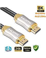 8K HDMI Cable 10ft/3M,Reayou HDMI 2.1,8K 48Gbps 8K@60Hz,4K@120Hz,Support HDCP 3D HDMI UHD Cable,Nylon Net Zinc Alloy Gold Plated Connector for Apple TV,PS4/5 SetTop Box HDTVs Projectors-3M