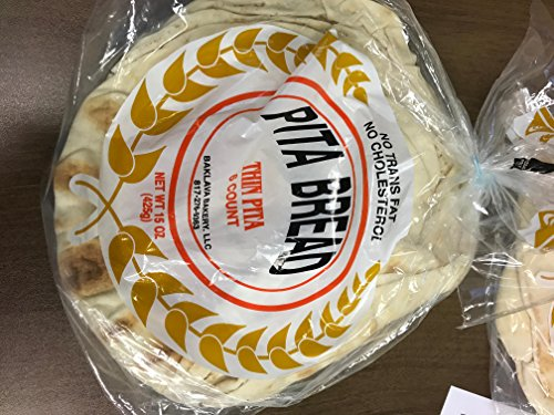Baklava Bakery Lebanese Thin Pita Bread, 6count in 1 package (4 packs)