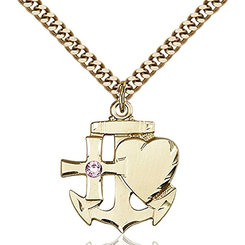 Gold Filled Faith Hope & Charity Pendant w/ 3mm Light February Purple Swarovski Crystal 7/8 x 3/4 inches w/ Heavy Curb Chain by Bonyak Jewelry Saint Medal Collection