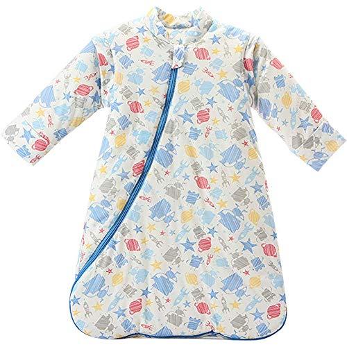 DANGTOP Baby Sleeping Bag Wearable Blanket Detachable Long Sleeves Cotton Sleep Sack Nightgowns for Winter, Cartoon Blue Robot Pattern Toddler Sleep Nest for Kids. (M)