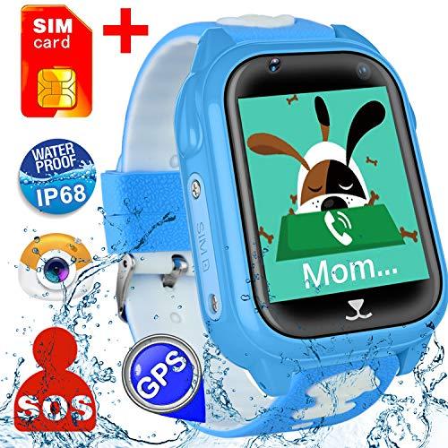 [SIM Card Included] Kids Smart Watch Phone for Girls Boys, Waterproof IP68 GPS Locator SOS Wrist Smartwatch Sport Watch Game Camera Anti-Lost Alarm Clock Learning Toys Swim Run Outdoor (Blue)