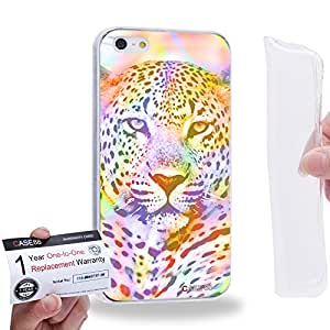 Case88 [Apple iPhone 5 / 5s] Gel TPU Carcasa/Funda & Tarjeta de garantía - Art Fashion Tropical Leopard Mix 0793