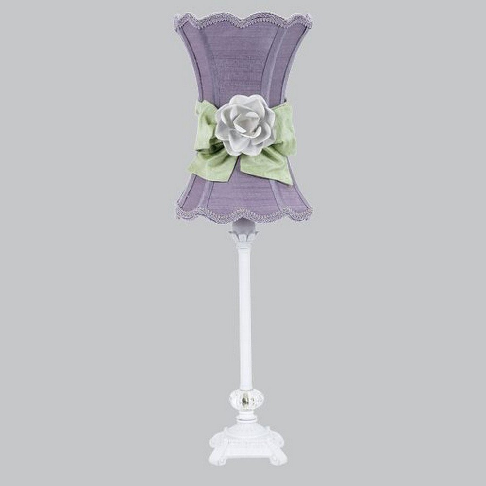 Jubilee Collection 8631-3609-617-MG2000 Bright Idea - One Light Table Lamp, White Finish with Scallop Hourglass/Lavender/Modern Green Bow/White Rose Magnet Shade