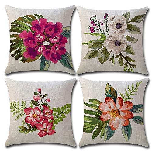 4-Pack Flowers Decorative Throw Pillow Cover 18x18 Inch, Home Décor Garden Outdoor Pillow Cushion Cases for Couch, Sofa, Bed (W/O Insert) from Songtec