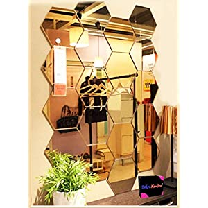 Bikri Kendra® – Hexagon 20 Golden Mirror – 3D Acrylic Mirror Wall Stickers for Home & Office