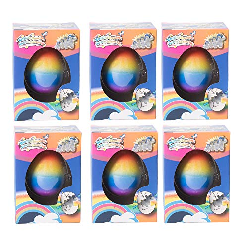 Master Toys and Novelties 6 Pack - Surprise Growing Unicorn Hatching Rainbow Egg Kids Toys, Assorted Colors ()