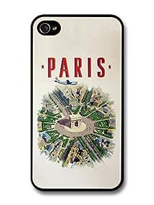 Classic Paris City Retro Poster with L'arc De Triomphe case for iPhone 4 4S